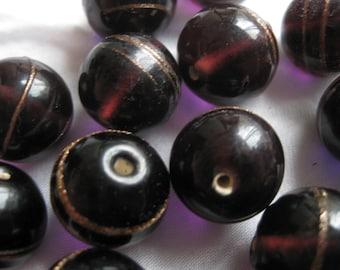 Vintage dark purple beads with gold stripes