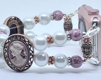 Apple Watch Band, Women Bead Bracelet Watch Band, iWatch Strap, Apple Watch 38mm, Apple Watch 42mm, Victorian Faux Pearl 7 1/4 - 7 1/2