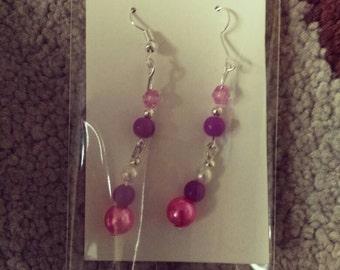 Pretty pink and purple bead dangle drop earrings.
