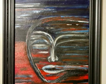 Manic ~ original acrylic painting on a flat canvas board 11x14 ready to frame.