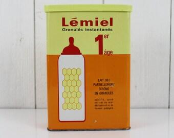 Vintage baby milk tin box, Baby milk powder box, French vintage, Lemiel, Milk powder for children box, Home decor, French tin box, E111