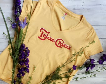 Tejas Chica, Texas Shirt, Texas Girl, Yellow Tee, Texas Tee, Lone Star State, Texas Home, Southern Girl, Shirts for Her, Gifts for Her