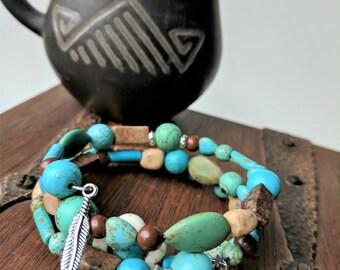 Magnesite Turquoise, Clay, Feldspar & Grainstone Tribal Bangle Wrap Bracelet