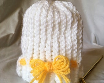 Ready to ship - Handmade Knitted Newborn Hat; Handmade Knitted Baby Gift