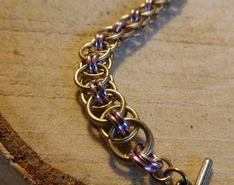 Brass helmet weave bracelet
