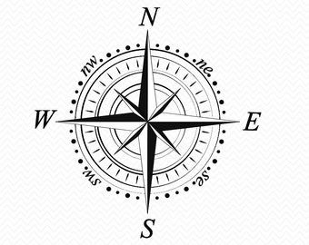 SVG Compass For Silhouette- Cricut Explore or Cameo- Instant Download file- Vector designs- Vinyl- pdf, eps, dxf, svg, png image-decal file