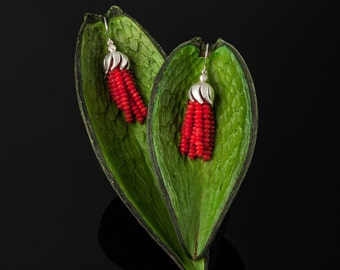 Handmade red earrings with small diamonds made of 925 sterling silver//Gifts for women//fancy earrings//jewelry in red