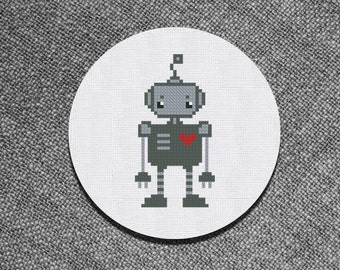 Cross Stitch Pattern Cute little robot Instant Download PDF Coounted Chart