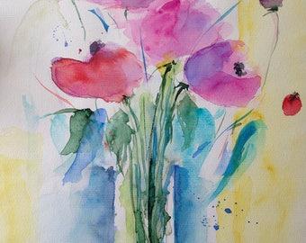 """Watercolor, flowers 'flowers in the vase""""30 x 40 cm, unique"""