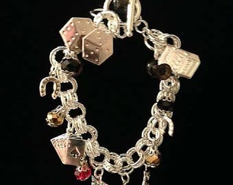 Casino Bracelet with Silver Plated Charms and Silver Multi-Link Chain.