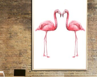 Flamingos watercolor print Flamingos couple Art print Flamingos Wall decor Flamingos watercolor print Flamingos poster Flamingos wall decor