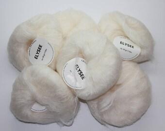 mohair yarn, wool yarn, light ecru