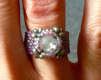 Beaded Component Ring, Unique Ring, Purple Ring, Beaded Ring, Peyote Ring