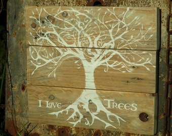 Rustic Tree  painted on reclaimed wood. Pallet Art.