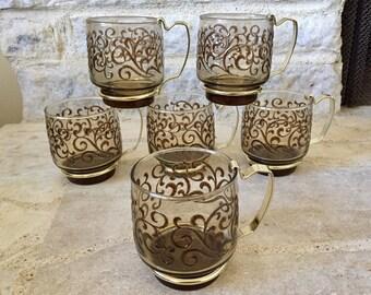 vintage libbey glasses - glass mugs - prado - smokey brown - swirl pattern - 1970s - drinkware - barware - hostess gift