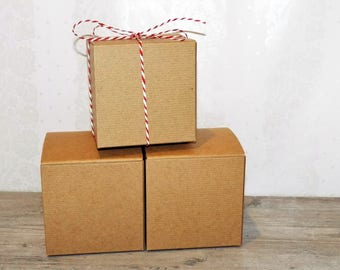 """4x4x4"""" 12 Kraft Brown Party Favor Boxes. Candy Boxes. Wedding/Birthday Boxes."""