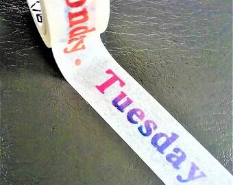 Colorful Monday-Sunday Japanese Washi tape. Calender washi tape. Scrapbooking and Stationery tape.