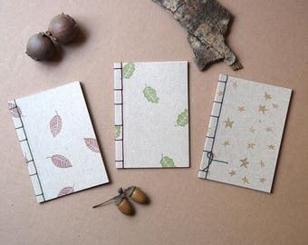 Paper Notebook with Japanese Binding with Handmade Seals, Japanese Notebook, A6 Notepad, Recycled Notebook.