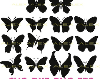 70% OFF, Butterfly Svg, Silhouette Digital Clipart, Butterfly Cut Files, Dxf, Ai, Eps,Png,  Instant Download, Black Silhouette Clip art