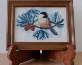 Framed Chickadee Sparrow hand-stitched Embroidery on evergreen branch