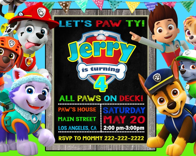 graphic relating to Printable Paw Patrol Invitations named Paw Patrol invitation Large SALE Exceptional Deliver Paw patrol invite Paw patrol invites Paw patrol printable Paw patrol birthday Paw patrol