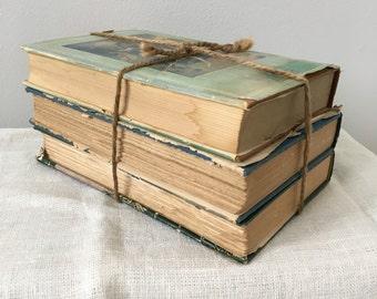 Antique book stack, 3-book interior design, vintage book stack