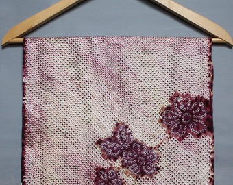 Purple white shibori floral silk fabric. Flowers shibori Vintage Japanese silk material. Fabric scraps/ quilting/ patchwork/ craft