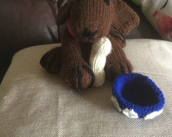 Hand knitted dog bowl and bone