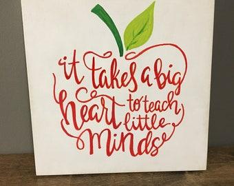 Teachers heart painted wood sign