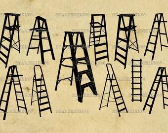 Digital SVG PNG JPG Ladders, silhouette, vector, clipart, instant download