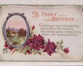 A Vintage A Happy Birthday Postcard