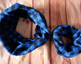 Duo mother-baby infinite scarves red or blue