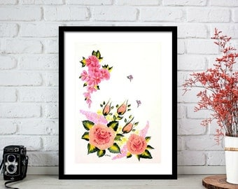 Rose Print, Rose Art, Spring has Sprung Floral Print, Floral Art Fine Art Prints, Gift for Her Teen Room Decor, Gift for Mom Birthday Gifts