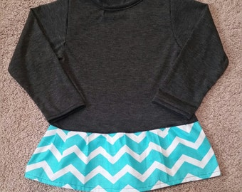 4T Grey and Mint Green Chevron Ruffle Top