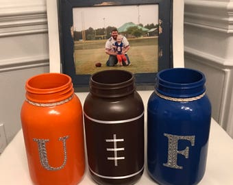 University of Florida (UF) inspired mason jars