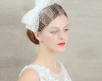 Bowknot Birdcage veil// bridal headpiece //wedding bride headdress tiara headband Hair Band
