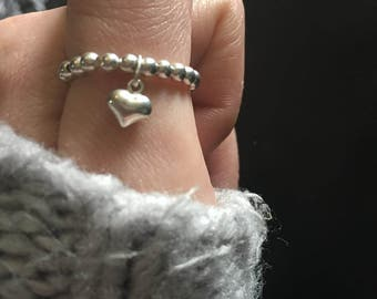 Sterling silver charm heart ring