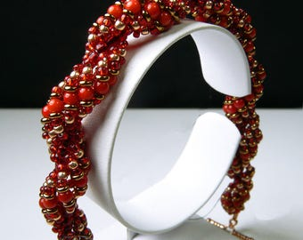 Red Coral with Copper and Bronze Bracelet