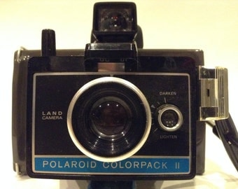 Vintage Polaroid ColorPack II Land Camera + Old Original Box, How To Manual, 11 Used Flashes, Old Eveready Batteries, Old Black & White Film