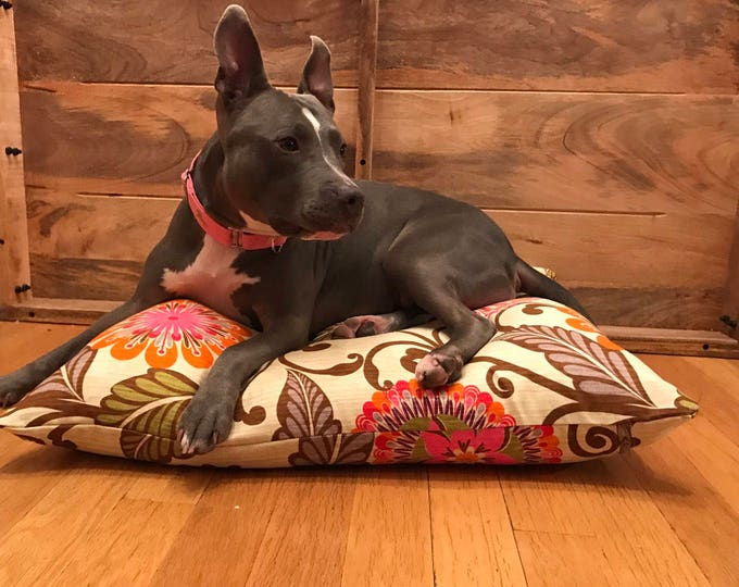 Pillow Style Dog Bed with a Bright Retro Floral Print Cover