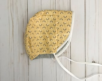 Yellow Bonnet | Striped Bonnet | Reversible Sun Hat | Toddler Hat | Made to Order