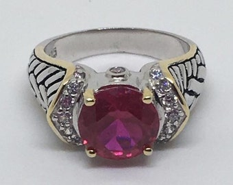 3ct red 5A grade cz sterling silver gold accent ring
