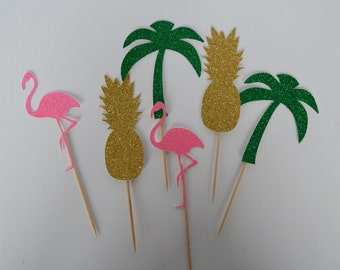 Tropical Cupcake Toppers, Jungle Party, Flamingo Cake Topper, Pineapple Cake Topper, Palm Tree Cake Topper, Flamingo Party decor, jungle