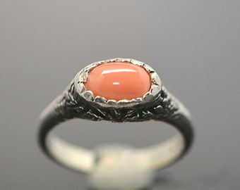 Delicate salmon coral ring