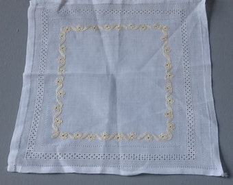 Vintage Linen Handkerchief Hand Sewn and Embroidered in Gold and White
