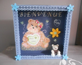 """Wall decoration or wooden desk """"ourson"""" blue night"""