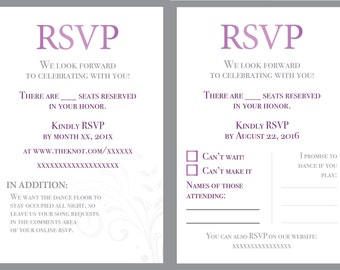 Wedding RSVP - Custom options - Purple and Gray