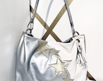 vegan leather shopping bag with stars