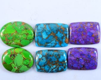 Natural Copper Turquoise Mix shape loose semi precious gemstone cabochon size 29.5 To 33 mm approx wholesale gemstone GE-233