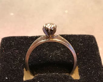 Vintage 14k White Gold Brogan Diamond Ring